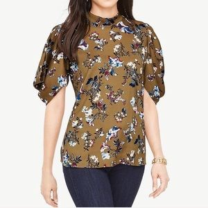 🍸Ann Taylor Olive Green Floral Print Blouse